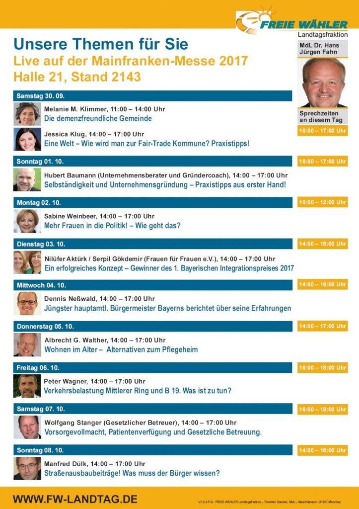 Themen Freie Wähler Landtagsfraktion / MdL Dr. Hans Jürgen Fahn - Mainfrankenmesse 2017 - Würzburg